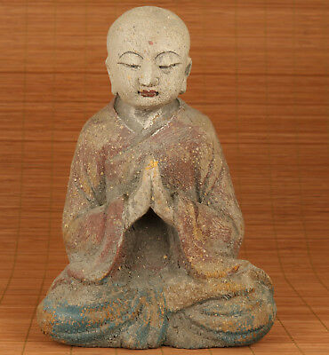 Big Chinese Old Wood Handmade Carved Buddha Monk Buddha Statue Figure