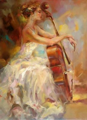ZOPT172 abstract music girl 100% hand painted art OIL PAINTING ON CANVAS