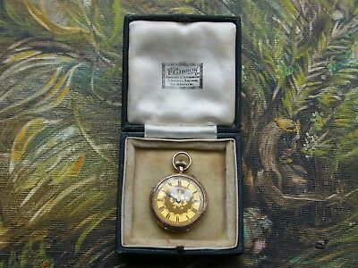 Antique 9ct Rose Gold Ladies Fob Pocket Watch In Leather Jewellers Box-Working