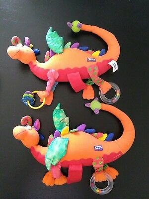 Pair 2 of Baby Infant Pram Toy Playgro Activity Dragons, Perfect For Twins