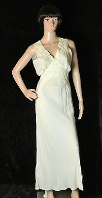 Vintage 1940s Silk Slip Nightgown Light Green Key Lime Bias Cut AS IS