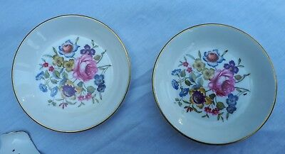 2x Royal Worcester floral dishes/ashtrays