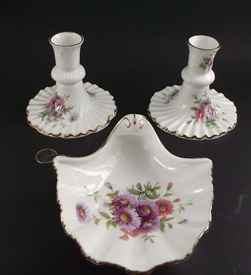 HAMMERSLEY FLORAL BONE CHINA CANDLE HOLDERS &  MATCHING MINT DISH h47