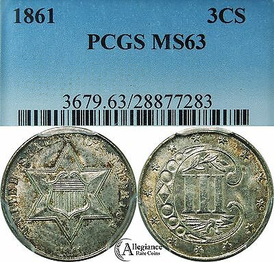 1861 Three-Cent Silver Piece PCGS MS63 rare coin 3 cents trime Civil War Date