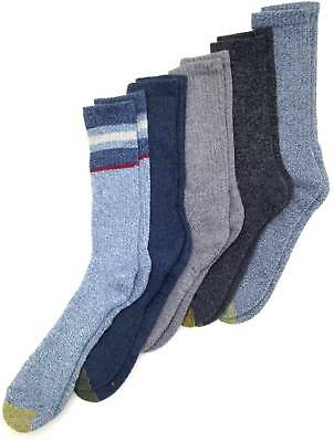 $50 GOLD TOE Men's 5-Pair Pack GRAY BLUE COTTON CUSHIONED CREW SOCKS Size 6-12