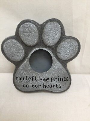 Paw Print Stone Dog Cat Memorial Grave Stone with Photo Frame BNIB