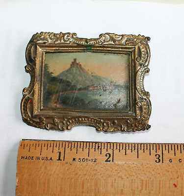 Antique Miniature 19Th Century Landscape Oil Painting Vintage Castle Germany?