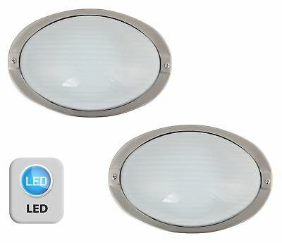 Pair of Stainless Steel & Glass IP44 LED Oval Outdoor Garden Porch Wall Lights