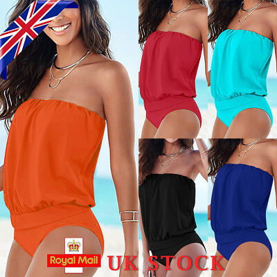 Womens Sexy Bandeau Swimming Costume Tankini One Piece Swimsuit