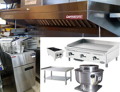 6FT Food Truck Exhaust Hood w/2' Charbroiler,  2' Griddle, Stand, Fryer