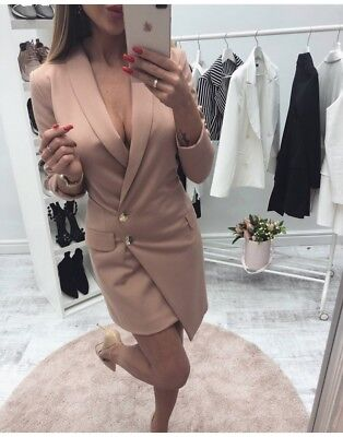 Damen Kleid XS S M Sexy Elegant Business Mantelkleid Mini Longblazer Mantel Neu