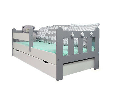 Stanley Toddler/Junior Bed Grey&White /Deluxe Sprung Mattress with Drawer WHITE