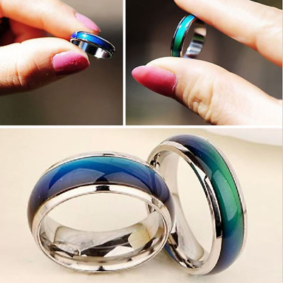 New Fashion Mood Ring Color Changing Stainless Steel Ring Sizes 6/7/8/9/10 AB
