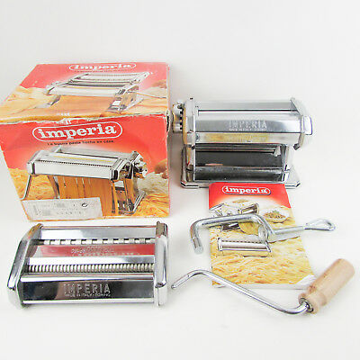 IMPERIA Chrome Pasta Machine Double Cutter Roller Lasagne Tagliattela Italy