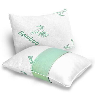 Plixio Bamboo Shredded Memory Foam Pillow with Hypoallergenic Cover 2 Pack Queen