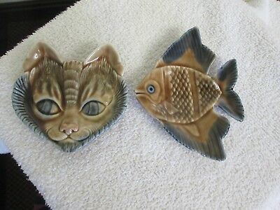 Beautiful Vintage Wade `cat Face` & `fish` Trinket/ Pin Dishes/ Tray.