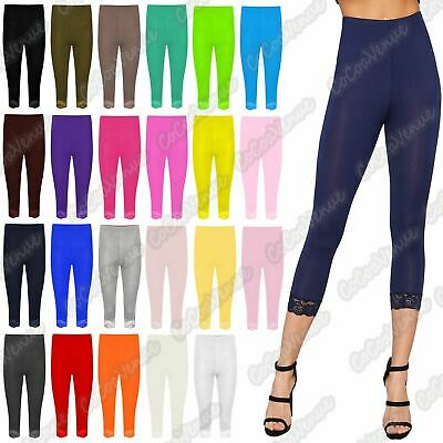 New Ladies Plain Lace Trim Stretchy 3/4 Length Capri Jegging Crop Leggings Pants