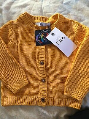 Girls 12-18 Months Yellow Ochre Cardigan New With Tags M&S