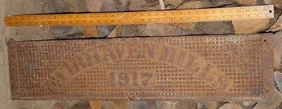STEAMPUNK Old Dated  1917 Heavy Iron 3' Metal Sign FAIRHAVEN MILLS