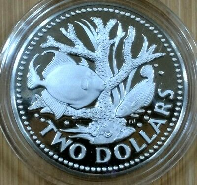 1975FM (P) Barbados 2 Dollars Proof Staghorn Coral Fish