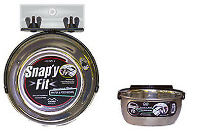 MIDWEST METAL PRODUCTS - Pet Bowl, With Crate Bracket, Stainless Steel, 1-Qt.