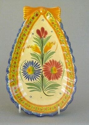 VINTAGE Unusually shaped Quimper Heriot wall plaque, no. 67. Perfect.