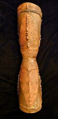 Old Well Carved West Sepik River Drum Papua New Guinea Oceania