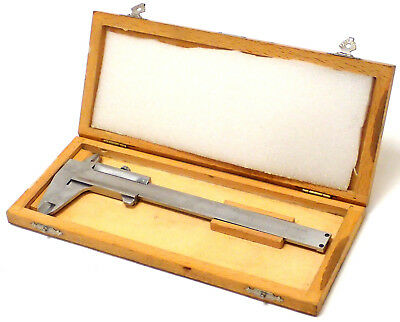 "EXCELLENT CONDITION! HELIOS 6"" PRECISION VERNIER CALIPER w/ WOOD STORAGE CASE"