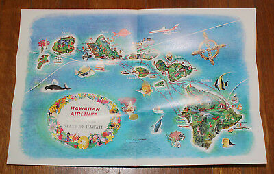 "Original Vintage HAWAIIAN AIRLINES Map Of The STATE OF HAWAII Poster 18"" x 12"""