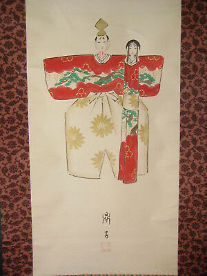 ANTIQUE JAPANESE  SIGNED (c.1930) SCROLL  HINA DOLL GIRLS DAY PRINCE AND PRINCES