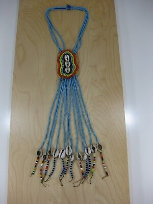 "Antique Vintage Hand Made Beaded 19"" Necklace Blue Seed Beads"