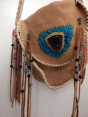 Pow Wow Leather bag obsidian people beads Free fringe bohemian turquoise tan