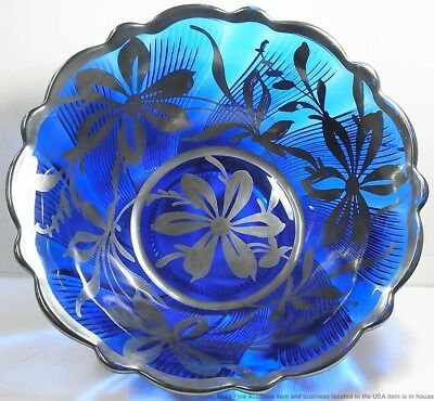 Antique Cobalt Blue Large Hand Painted Silver 1930s Art Deco Bowl