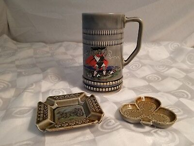 Wade Ireland Pottery Lot of 3 Irish Porcelain Finn MacCoul Stein Tray Ashtray