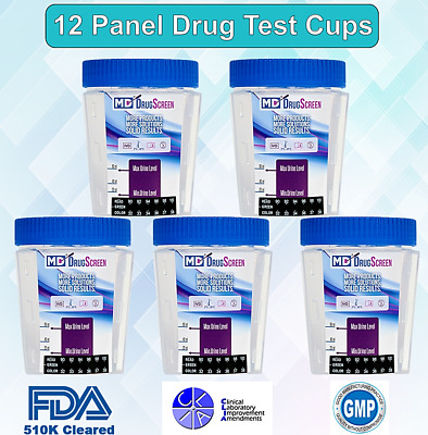 12 Panel Urine Drug Test Cups - FDA Approved & CLIA Waived - FREE SHIPPING!