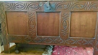 Antique 17th cent. English (Dutch) carved oak storage chest, internal candle box