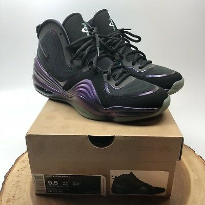 factory price 9f371 cfc18 NIKE AIR PENNY V INVISIBILITY CLOAK BLACK ATOMIC TEAL-PURPLE 537331 002 sz  9.5