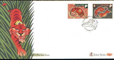 "Singapore, 1998, ""year Of Tiger"" Stamp Set On Gpo Fdc Fresh Condition"