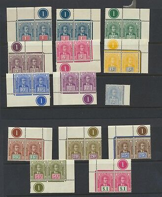 Sarawak 1918 set mint with plate numbers - mostly NHM