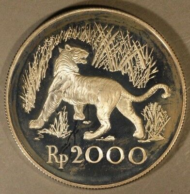 """1974 Indonesia 2000 Rupiah Silver Proof  """"Tiger""""  ** FREE U.S. SHIPPING **"""