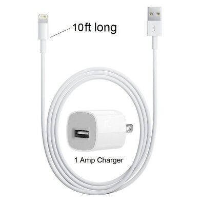 10ft Apple 8Pin USB Cable Power Cord + Cube Wall Charger for iPhone X, 8, 7, 7S