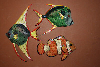 Realistic Coral Reef Tropical Fish Sealife Wall Hanging Decor, 6 inch, Lot of 3