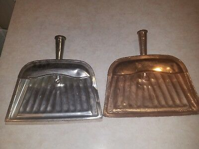 Vintage COPPER FINISH METAL DUST PANS louisville MADE IN USA  J.V. REED