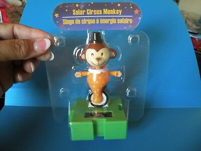 Solar Powered Dancing Circus Monkey on Unicycle Puzzle Piece Base Free ship A2