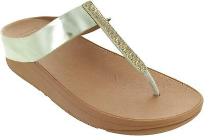 d6bb9000da7a13 Fitflop Fino Crystal Toe Post Sandals Women s Metallic Gold Thong T Bars New