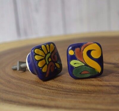 White Porcelain W Hand Painted Ceramic Drawer Cabinet Pull Knobs Set of 2