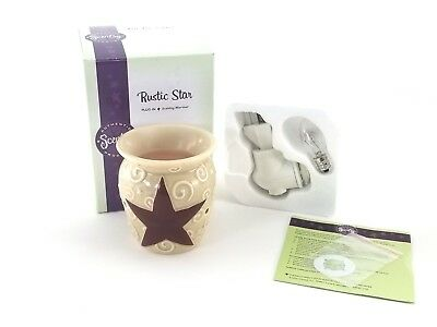 Scentsy Rustic Star Warmer With Original Box Candle Light Plug In