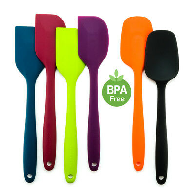 Ovente Heat Resistant Flexible Silicone Spatulas Stainless Steel Core BPA Free