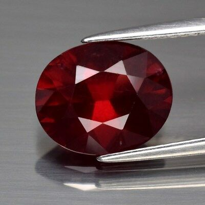 3.86ct 11x9mm Oval Brilliant Natural Purplish Red Rhodolite Garnet, Madagascar