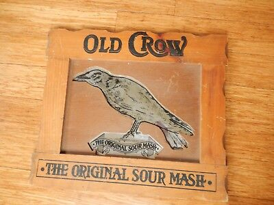 Vintage Old Crow THE ORIGINAL SOUR MASH Distillery Whiskey Bar Sign Wall Mirror